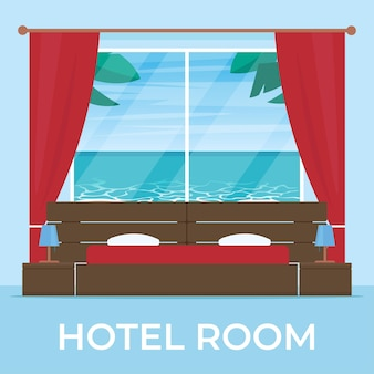 Camera d'albergo con spiaggia e paesaggio marino vista fuori dalla finestra illustrazione in stile piatto
