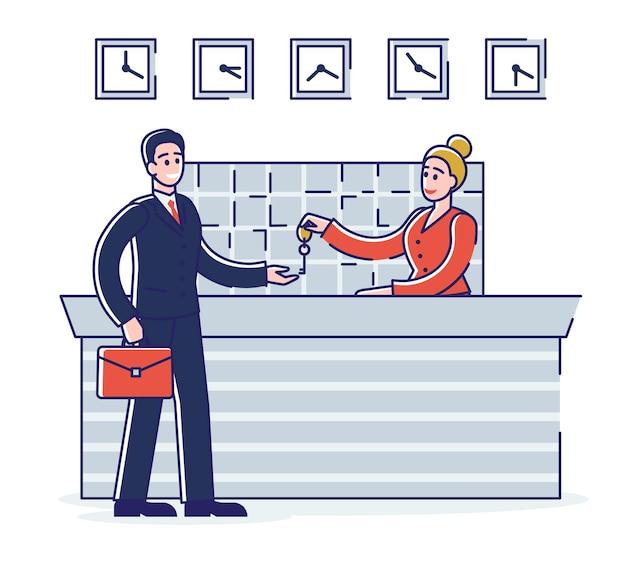 Concetto di servizio alberghiero. l'uomo d'affari sta rimanendo nell'hotel. la donna dell'addetto alla reception dà le chiavi degli appartamenti all'ospite. cartoon outline linear flat.
