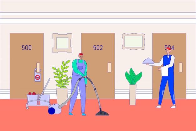 Meccanico e cameriere dell'hotel in corridoio, illustrazione. il personale dell'uomo pulisce la camera degli ospiti e porta cibo dal ristorante