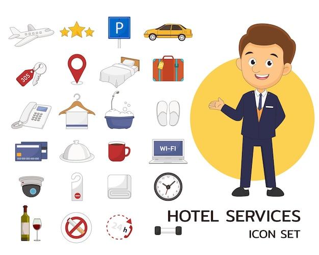 Icone piane di concetto di servizi alberghieri