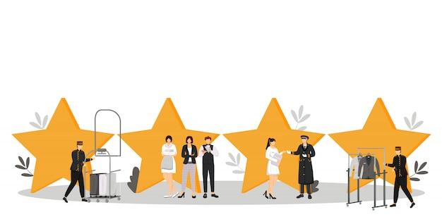 Illustrazione a colori del personale dell'hotel. facchini, portiere, amministratore. responsabile del resort. governante, cameriera. personale di servizio con personaggi dei cartoni animati di stelle di qualità su bianco