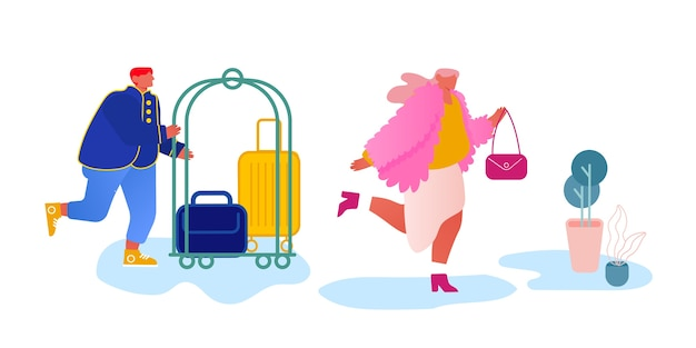 Riunione del personale dell'hotel ospite nella hall che trasporta bagagli con carrello.