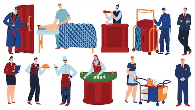 Insieme dell'illustrazione di vettore della gente del personale dell'hotel.