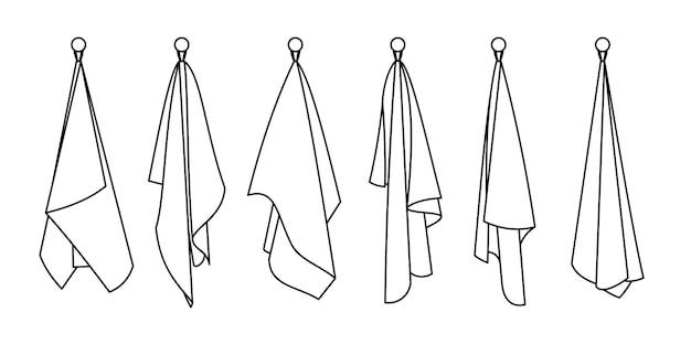Icone della linea di asciugamani per hotel. cartone animato oggetti puliti per il bagno, disegnati a mano appesi simpatici articoli tessili in cotone bianco per l'asciugatura, illustrazione vettoriale di asciugamani isolati su sfondo bianco