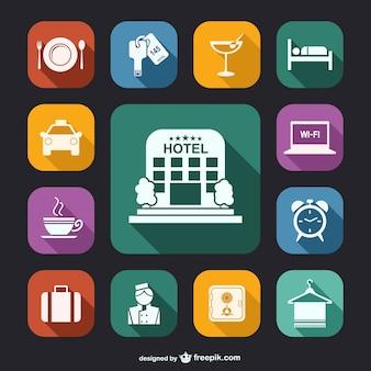 Icone bianche di hotel pacco Vettore Premium