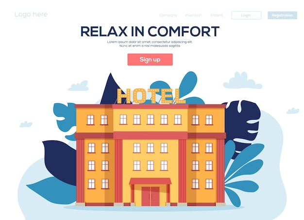 Hotel flyear, banner web, intestazione ui, entra nel sito. consistenza del grano ed effetto rumore.