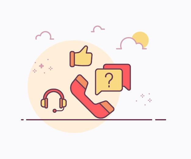 Cuffie del telefono di concetto di servizio di hotline come l'icona della mano con l'illustrazione di disegno di vettore di stile di linea continua di colore morbido