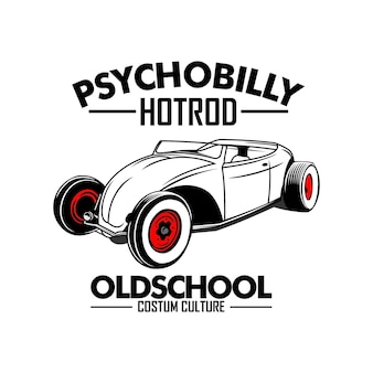 Modello dell'automobile musclr dell'illustrazione di hotrod