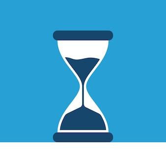 Clessidra su sfondo blu. gestione del tempo e concetto di urgenza. design piatto. illustrazione vettoriale eps 8, nessuna trasparenza
