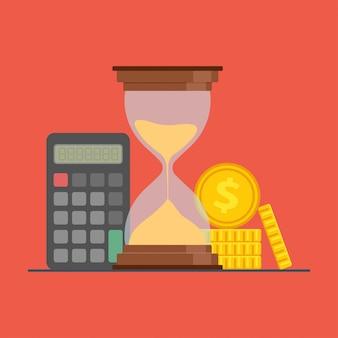Clessidra, calcolatrice e monete, il tempo è denaro.