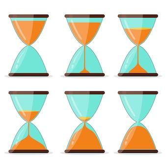 Set di cornici a clessidra, immagini per animazioni, vetro orologio timer. clessidra trasparente, design piatto strumento antico sandclock. vettore
