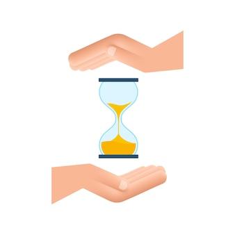 Clessidra nelle mani. clessidra timer sand come conto alla rovescia. illustrazione di riserva di vettore.