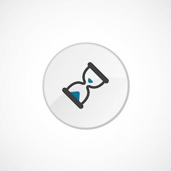 Icona della clessidra 2 colorata, grigia e blu, distintivo del cerchio