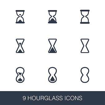 Set di icone a clessidra. segni di glifi dal design semplice. modello di simbolo della clessidra. icona di stile universale, può essere utilizzata per l'interfaccia utente web e mobile