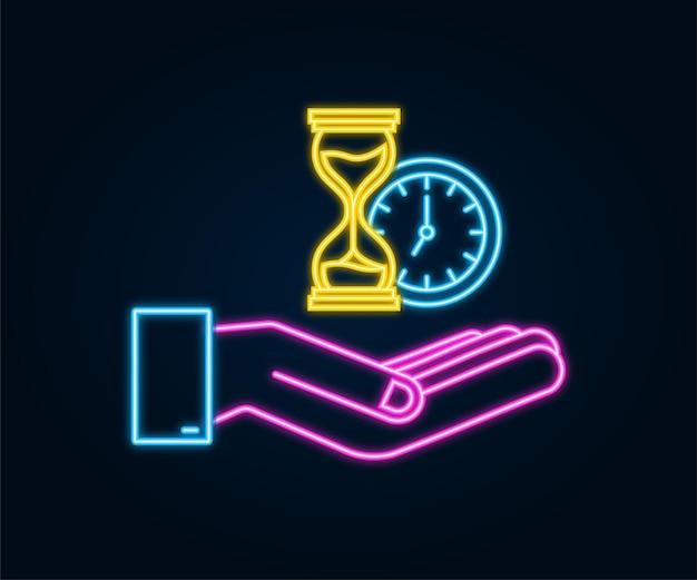Icona al neon a clessidra mani che tengono hougglass e clessidra altamente dettagliato