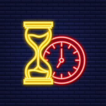 Clessidra. icona al neon. altamente dettagliato. orologio antico con sabbia all'interno. illustrazione vettoriale.