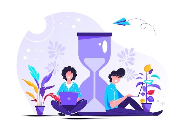 Clessidra su sfondo bianco, concetto di gestione del tempo