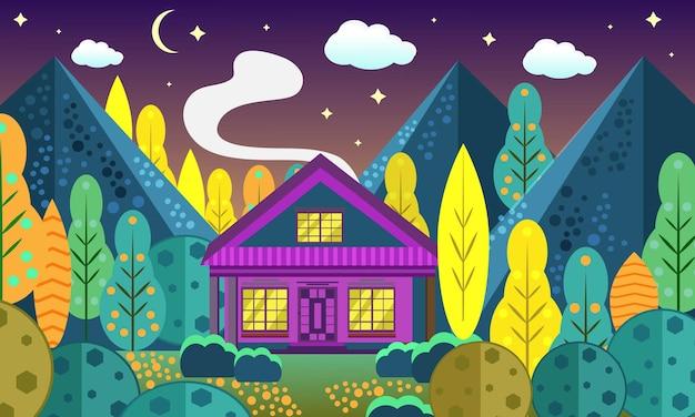 Casa nel bosco d'autunno