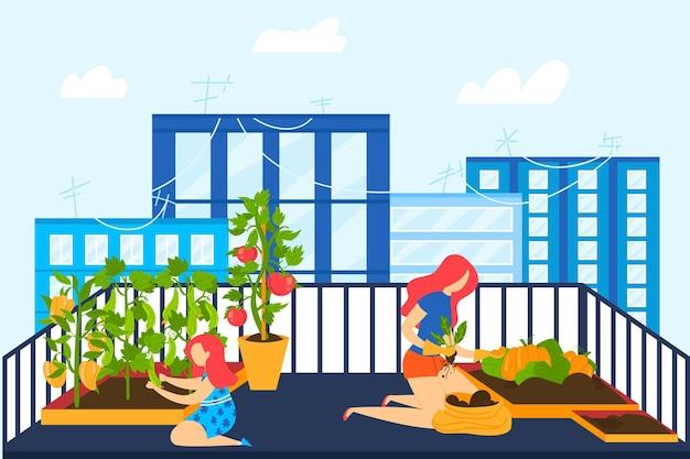 Illustrazione del giardino del balcone della casa.