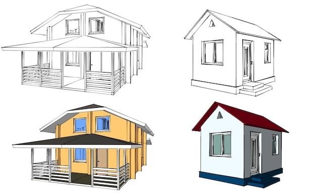 Planimetria della casa. architettura dell'edificio domestico. illustrazione vettoriale. illustrazione su sfondo bianco.