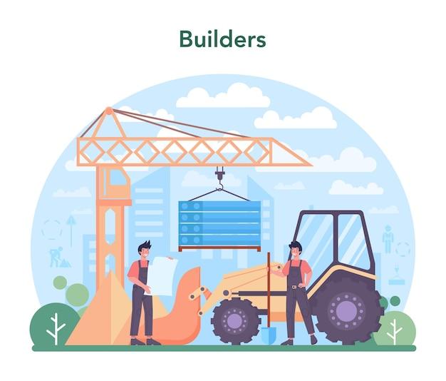 Lavoratori di concetto di costruzione di case che costruiscono casa con strumenti