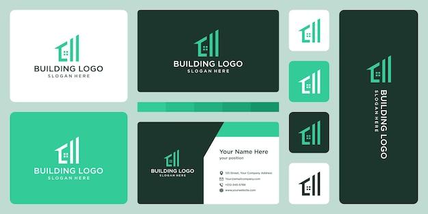 Logo della costruzione della casa e design del biglietto da visita