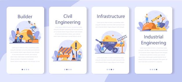 Set di banner per applicazioni mobili per l'edilizia domestica