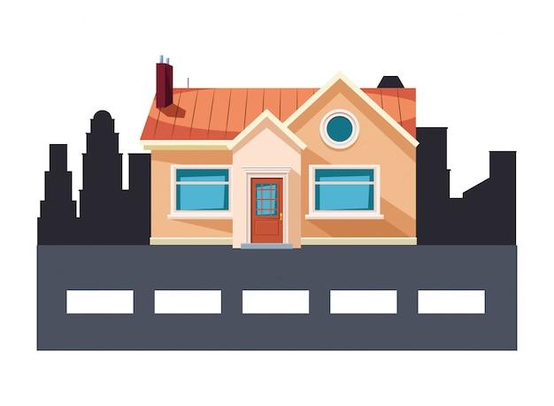 Fumetto dell'icona della costruzione e della via della casa Vettore Premium