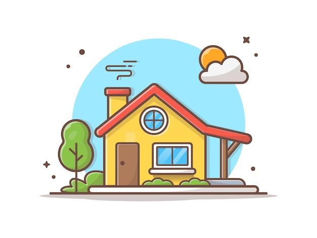 Illustrazione dell'icona di vettore della costruzione di casa