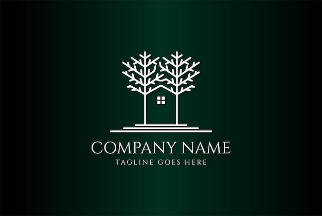 Casa cabina albero foresta linea immobiliare logo design vector