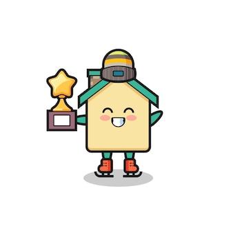 Il cartone animato della casa come un giocatore di pattinaggio sul ghiaccio tiene il trofeo del vincitore, un design carino