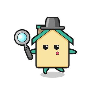 Personaggio dei cartoni animati della casa che cerca con una lente d'ingrandimento, design carino