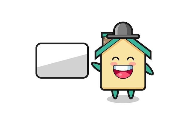 Illustrazione del fumetto della casa che fa una presentazione, design carino