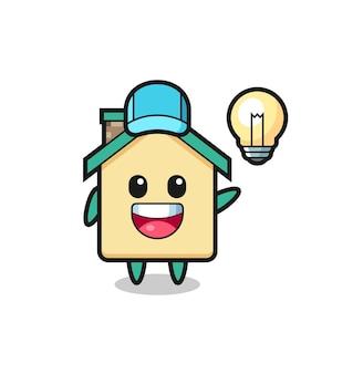 Cartone animato del personaggio della casa che ottiene l'idea, design carino