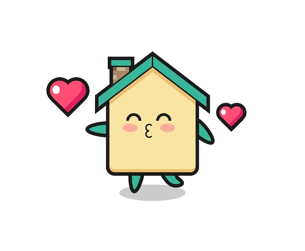 Cartone animato personaggio casa con gesto di bacio, design carino