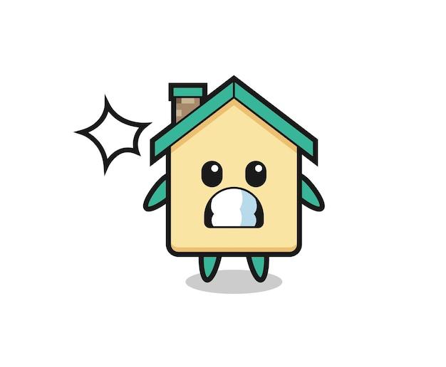 Cartone animato personaggio casa con gesto scioccato, design carino