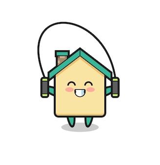 Cartone animato personaggio casa con corda per saltare, design carino