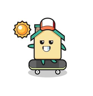 L'illustrazione del personaggio della casa cavalca uno skateboard, design carino