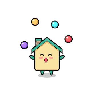 Il cartone animato del circo di casa che fa il giocoliere con una palla, design carino