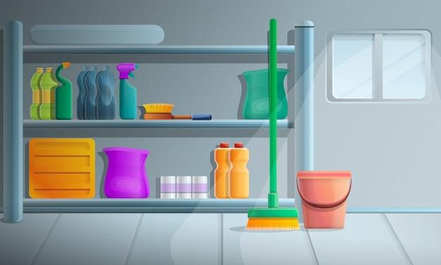 Illustrazione di concetto delle attrezzature per la pulizia dalla camera, stile del fumetto