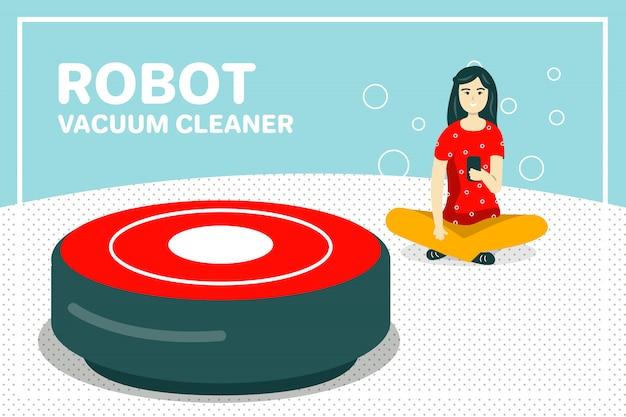 Fondo dell'aspirapolvere del robot di pulizia della camera