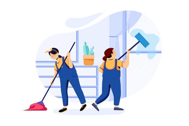 Concetto di illustrazione del servizio di pulizia della casa
