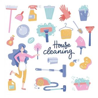 Carattere di donna servizio di pulizia della casa.