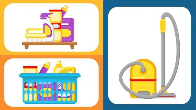 Illustrazioni di vettore delle forniture di pulizia della camera messe