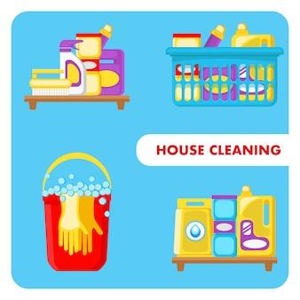 Illustrazioni di vettore degli strumenti di pulizia della camera messe