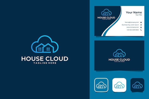 House cloud building logo design e biglietto da visita