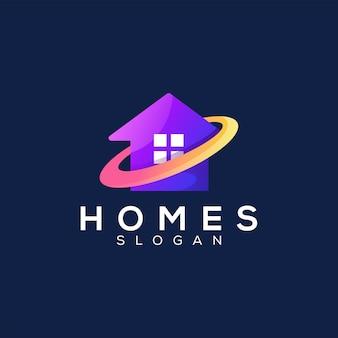 Design del logo sfumato di colore della casa