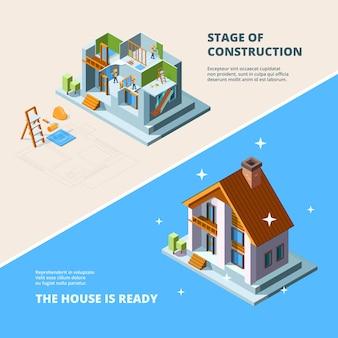 Costruzione di una casa. riparare l'illustrazione isometrica dell'edificio di ristrutturazione del tetto per i banner.