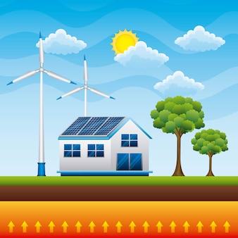 Casa campagna pannello solare vento tubine