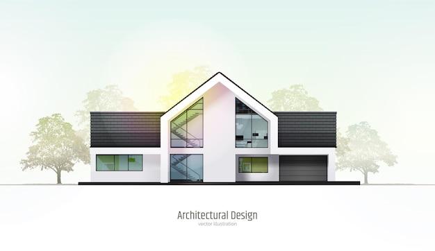 Casa tagliata cottage a tre piani all'interno con camere garage e interni moderni con mobili
